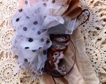 Shabby Chic Headband Latte Cream Black and White Polka Dot