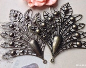 74 x 80 mm Antiqued Bronze / platinum plated Filigree Wrap Charm Peacock Feather Base Setting (.nn)