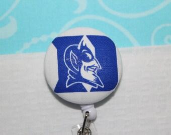 Fabric Duke University Blue Devils D Retractable ID Name Badge Pull Reel Clip Holder