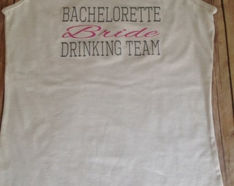 Bachelorette Drinking Team Tank Top - Custom text colors