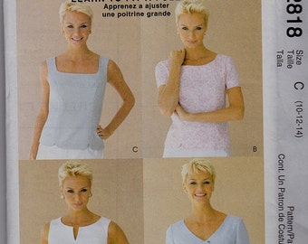 New McCalls PALMER PLETSCH TOPS Pattern 2818 Misses Sz 10-14 Learn to Fit a Full Bust Uncut Factory Folded