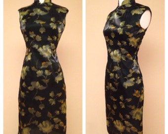 Vintage 1960s Asian Dress - Beautiful Watercolor Floral - Short Knee Length Black and Green Size Small