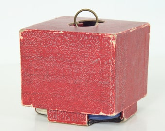 Poker Chips in Red Cardboard Carrying Case, Red White Blue