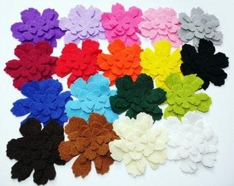 Felt Flower. Set of 72 pieces. Felt Garland, Die Cut Shapes, Applique, Confetti, Party Supply, DIY Wedding