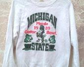 ON SALE Vintage Vtg 80's 1989 MICHIGAN State University Gator Bowl White Sweatshirt Sweater