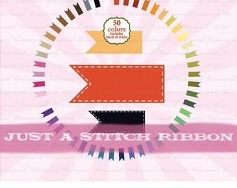 Ribbon Clip Art banner clipart digital frame,  flag scrapbooking, journal tag, stitch photo prop : c0099 v301