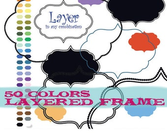 Digital frame, frame clipart, frame clip art, border clipart, border clip art : e0128 v301 black