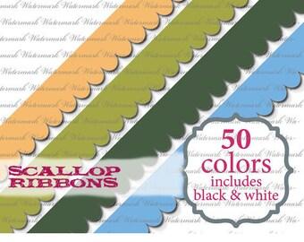 Ribbon clip art scallop border clipart scrapbook red orange yellow blue purple pink : e0101  v301 black