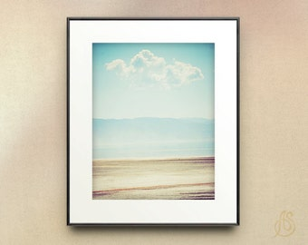 Great Salt Lake Photograph // Utah Photography // White Cloud Blue Sky Beach Landscape //  5x7 8x10 8x12 11x14