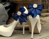 Satin Bow Shoe Clips - set of 2 - with sparkling rhinestones, Bridal Shoe Clips, Many colors to choose from