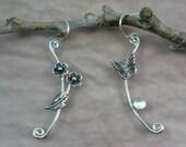 Butterfly and flower earrings - mismatched earrings - asymmetric earrings- nature jewelry - sterling silver moonstone earrings