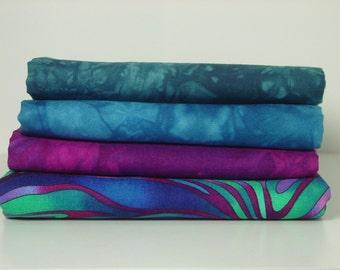 Hand Dyed Fabric and Robert Kaufman Fabric Bundle, Rich Jewel Tones, Total 2.5 Yards #52