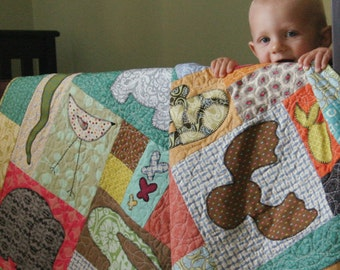 Baby Quilt Pattern, Animals on Parade Quilt Pattern, Baby Pattern, Craft Supplies