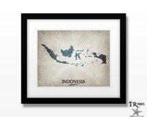 Indonesia Map Print - Home Is Where The Heart Is Love Map - Original Custom Map Art Print Available in Multiple Size and Color Options