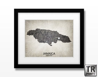 Jamaica Map Art Print - Home Is Where The Heart Is Love Map - Original Custom Map Art Print Available in Multiple Size and Color Options
