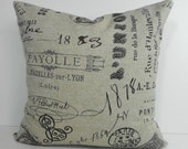French Script Decorative Pillow Cover, Vintage French Script Postcard Cushion