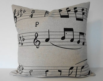 Musical Notes Decorative  Linen Pillow Cover in Natural and Black Lumbar Cushion Cover, 12 x 16, Piano