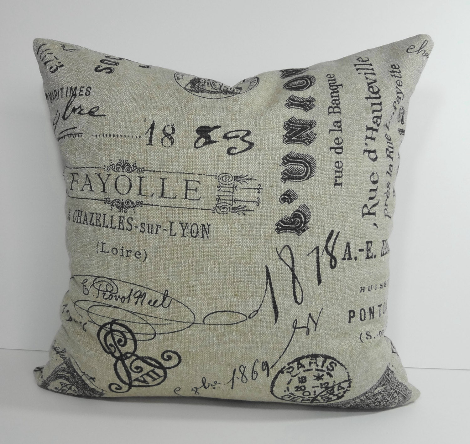 Throw Pillows With French Script : French Script Decorative Pillow Cover Vintage French Script