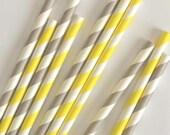 25 Gray and Yellow Paper Straws- Mason jar Supplies
