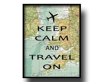 vintage map atlas book page quote typography art print art keep calm and carrry on plane