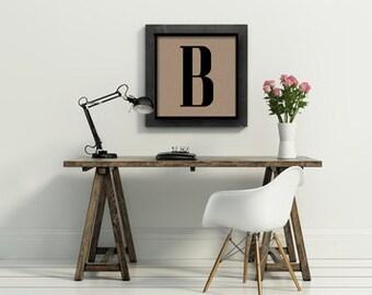 12x12 monogram custom personalized initial letter art kraft paper print  poster typography home decor