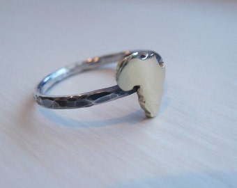 Rustic Brass / Silver Africa Ring African Continent African Map Sterling Silver (925)