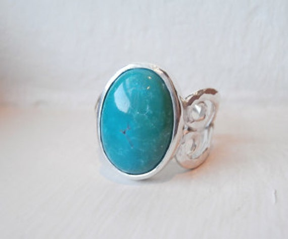 Turquoise Silver Ring Natural Stone Ring Unique Hammered Heart Band Green Blue Stone Hippie Ring - Sterling Silver (925)