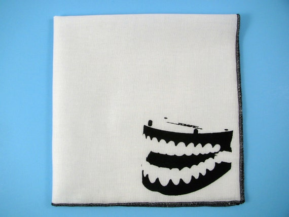Hankie CHATTER TEETH on super soft white cotton hanky