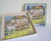 VINTAGE 1950s VICTORY wood jigsaw puzzle - boxed, farm scene, sheep lambs