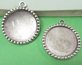 Cabochon Base Setting -10pcs Antique Silver Round Bezel Tray Charm Pendants 25mm AA204-3