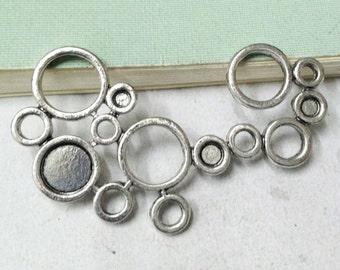 Flower Connectors -6pcs Antique Silver Bubble Connector Charm Pendants 35x56mm A501-6