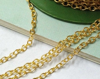 Gold Chains -16ft 5 meters Round Cable Link Chain for Necklaces 3x4mm Gold Plated