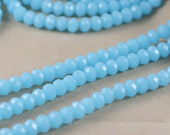 1 Strand 72pcs Faceted Natural Jade Stone Rondelle Loose Beads 8mm Blue Jewelry Findings