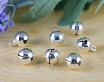 50pcs Silver Plated Tinkle Bell Charm Charm Pendants 6mm F106-2