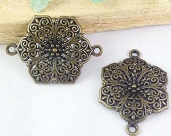 10pcs Antique Bronze Beautiful Flower Connector Link Charm Pendants 28x40mm E203-4