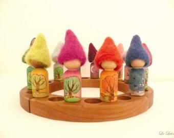 Waldorf Tree Calendar Gnomes -  Year / Annual Calendar Gnomes - Peg People - Steiner Educational Toy, Homeschooling