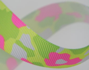 Neon Camo 7/8 inch wide - 2 Yards