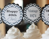 12 - 40th Birthday Grey Black Chevron Over the Hill Birthday Cupcake Toppers - Ask About our Party Pack Sale