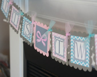 "Mustache Bowtie Girl Bows Twins Girl Boy Baby Shower Chevron ""Its Twins"" Banner Blue Pink"