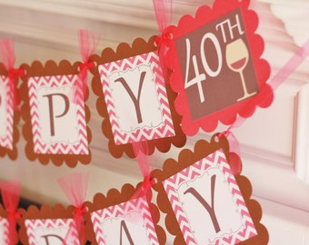 Happy 65th 50th 65th 30th Birthday Hot Pink Brown Chevron Wine Glass Drink Cocktail Theme Banner - Bachelorette Banner