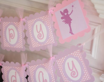 Happy Birthday Girl Pink Purple Polka Dot Fairy Silhouette Theme Banner - Party Pack Specials - Free Ship Over 65.00