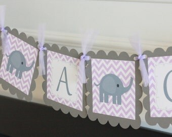 "Baby Shower Purple Lavender & Grey Chevron Elephant ""It's a Girl"" Baby Shower Banner - Ask About Party Pack"