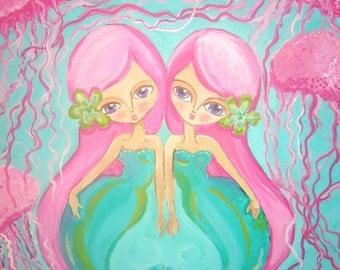 Gemini Mermaids Acrylic Painting with Pink Jellyfish