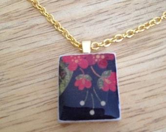 Scrabble piece pendant Red Flowers