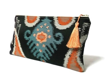 Ikat Clutch in Black, Silver, Salmon, Steel Blue - Luxury Evening Clutch - Beautiful Ikat Handbag - Zippered Pouch with Tassel