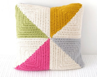 Summer Cushion, Garden Decor, Pinwheel Pillow, Campervan Decor, Girls Room, Drops Paris, Cotton Yarn, Easy to Make, Modern Crochet, Gift