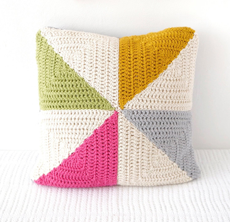 crochet pillow pattern pinwheel cushion crochet by LittleDoolally