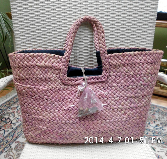 Woven Yarn Basket : Pink lined basket yarn woven beach bag by graceandlilys
