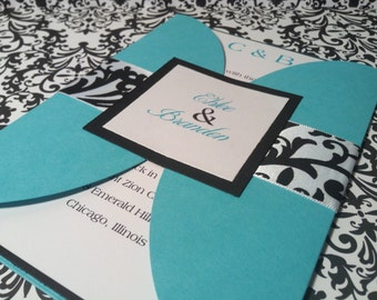 Turquoise and Damask Wedding Invitation