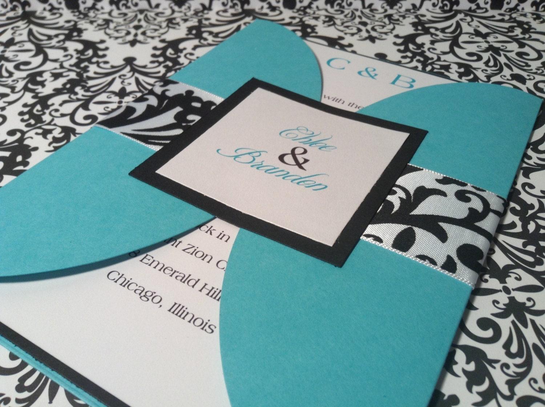 Wedding Invitations Turquoise: Turquoise And Damask Wedding Invitation